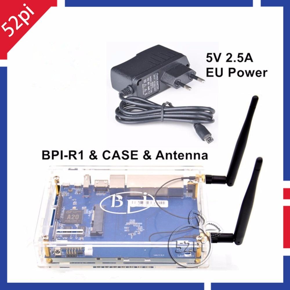 Banana Pi R1 Wireless smart Router+BPI R1 case Acrylic Enclosure+2pcs BPI-R1 Antenna,3dB,Omni directional+ EU Charger banana pi r1 wireless router open source development board bpi r1 smart home control plate