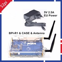 In Magazzino! Banana Pi R1 Wireless Router intelligente + BPI R1 caso Custodia In Acrilico + 2 pz BPI-R1 Antenna, 3dB, Omni direzionale + Caricatore UE