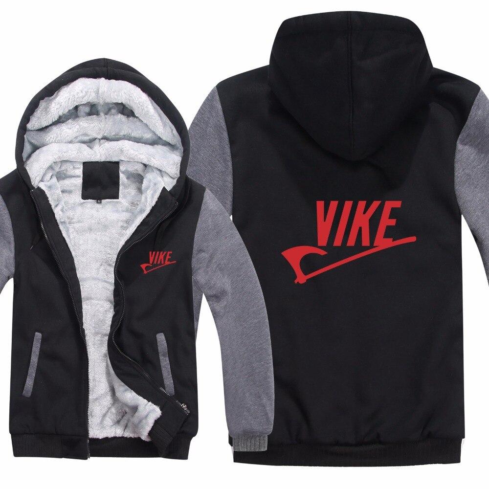 new style 5ea98 0cd7a US $29.97 55% OFF|Vikings Hoodies Jacket Thicken Zipper Winter Fleece Movie  TV Show Wool Liner Vikings Sweatshirt Man Pullover-in Hoodies & ...