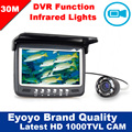 "Free Shipping!30M 4.3"" Underwater 1000TVL Ice Fishing Camera Fish Finder VIdeo Recording DVR 8 infrared LED Sunvisor"