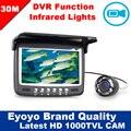 """Frete grátis! 30 M 4.3 """" de água 1000TVL câmera de gravação de vídeo DVR 8 LED infravermelho de pára sol"""