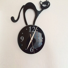 3D acrylic cat mirror quartz wall clock design