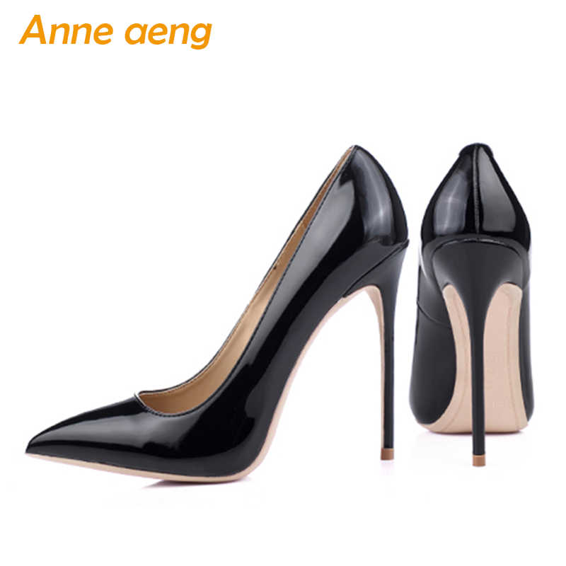 ba0ab65207 12cm High thin Heels Women Pumps Sexy Office Lady Women Wedding Shoes  Pointed Toe Classic Black Red shoes women Big Size 34-46