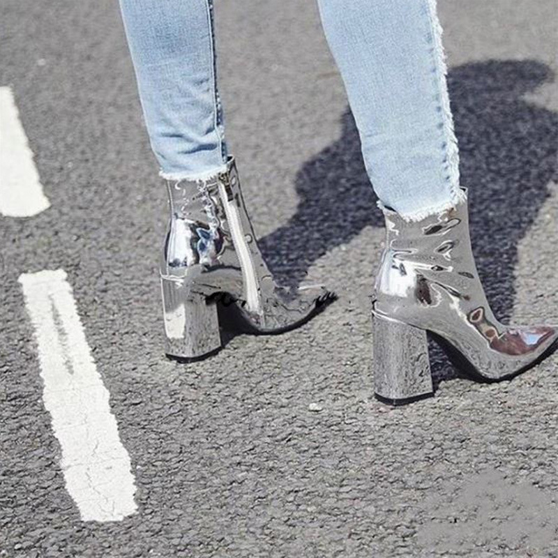 Boussac Patent Leather Bling Ankle Boots For Women Pointed Toe Silver Women Boots Short Plush Martin