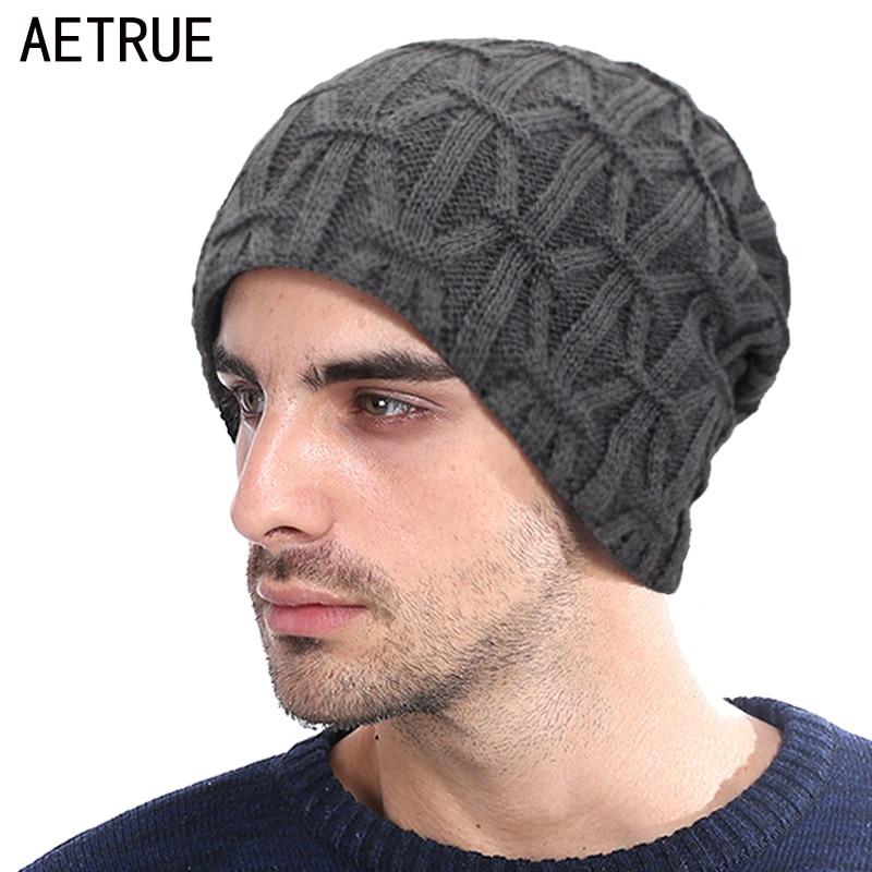 AETRUE Knitted Hat Skullies Beanies Men Winter Hats For Men Women Bonnet Warm Thick Soft Fur Gorros Male Striped Beanie Hat Cap
