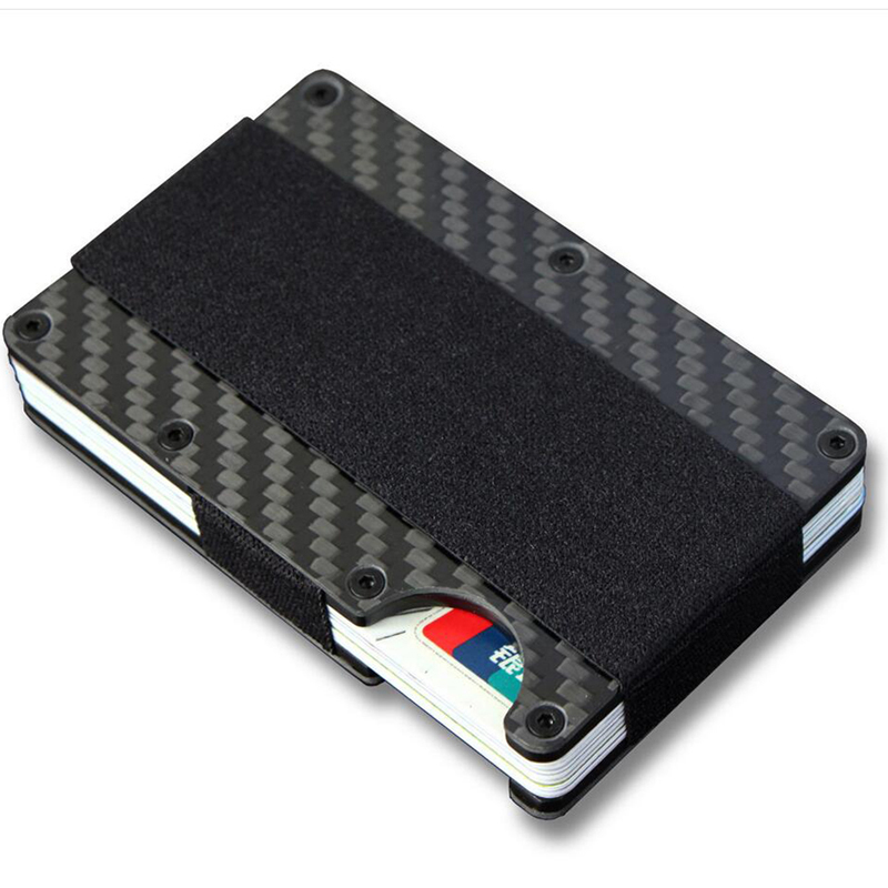 New Carbon Fiber Credit Card Holder RFID Money Clamp ID Card Holder Elastic Band Mini Metal Aluminum Card Wallet