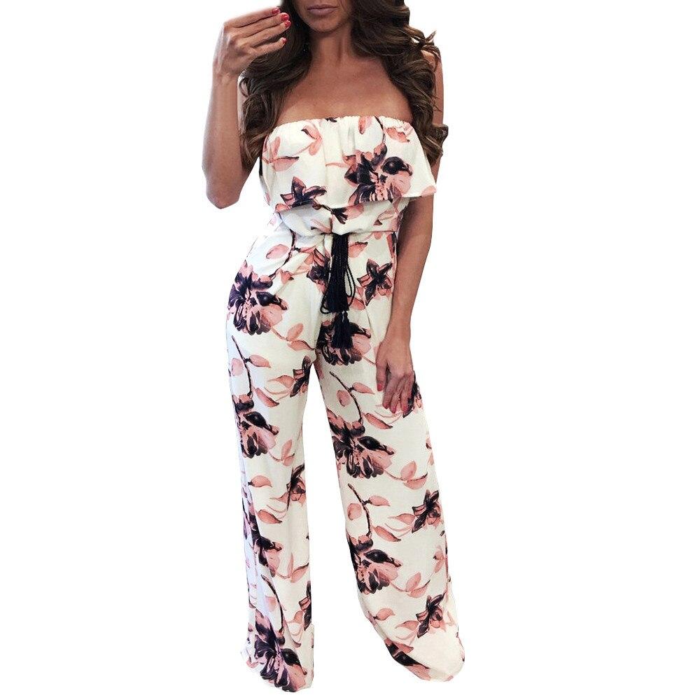 2018 NEW Women Sleeveless Off One Shoulder Print Long elegant Pants jumpsuit summer for girl Fashion Mar27 w20d35