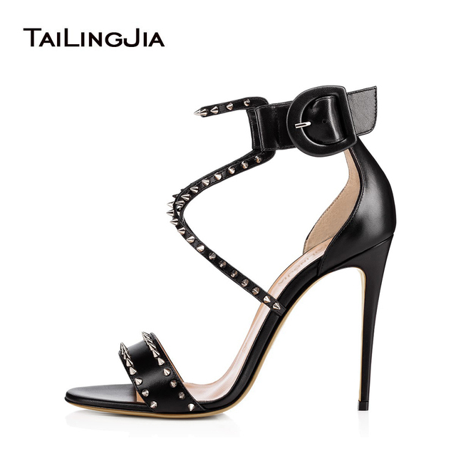 050b0a9b24a2 Sexy Black Strappy Sandals with Spikes Nude Studded High Heel Dress Shoes  Stiletto Heel Summer Shoes for Women Party Shoes 2018