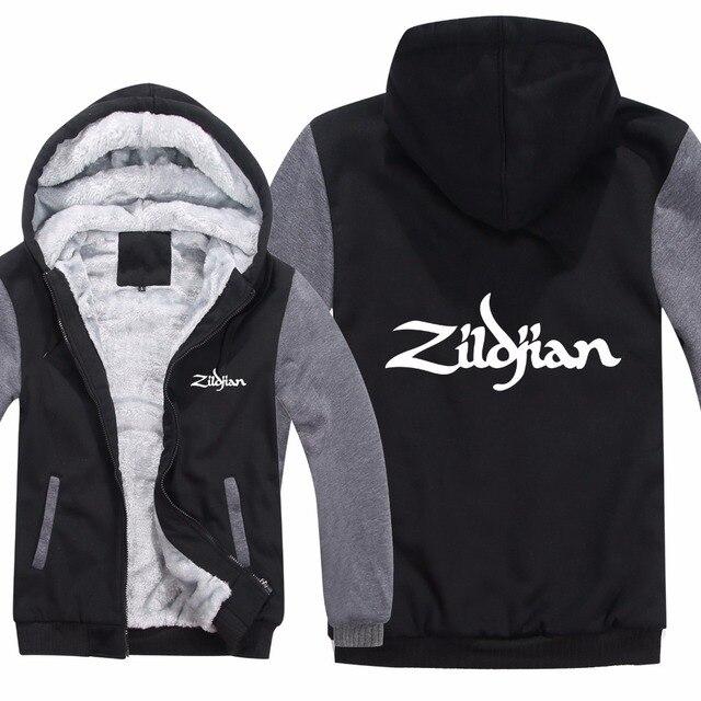 New Winter Zildjian Hoodies Jacket Men Casual Thick Fleece Hip Hop  Zildjian Sweatshirts Pullover Man Coat