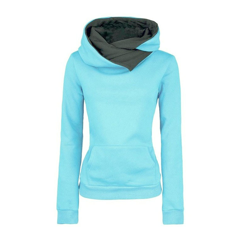 2016 Spring New Casual Fashion Slim Solid Color High Collar Pocket Women Sportwear Hoodies Hooded Sweatshirts Pullovers Coat