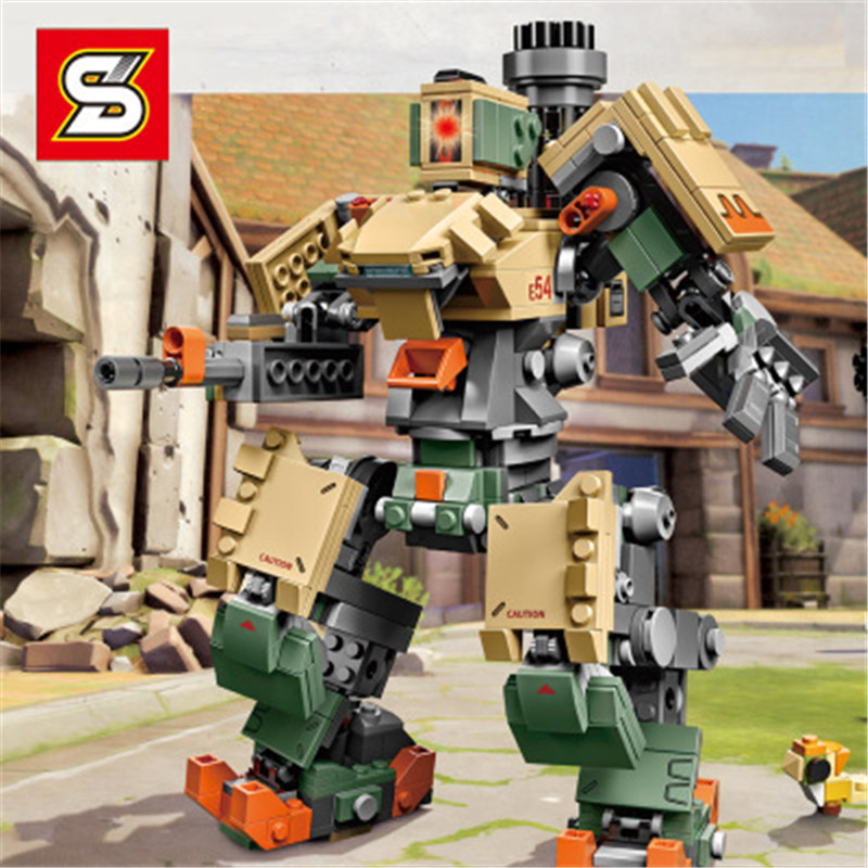 New Compatible Legoinglys Overwatching S1300 Games Bastion Mecha Set Building Blocks Toys For Children Gifts Kids