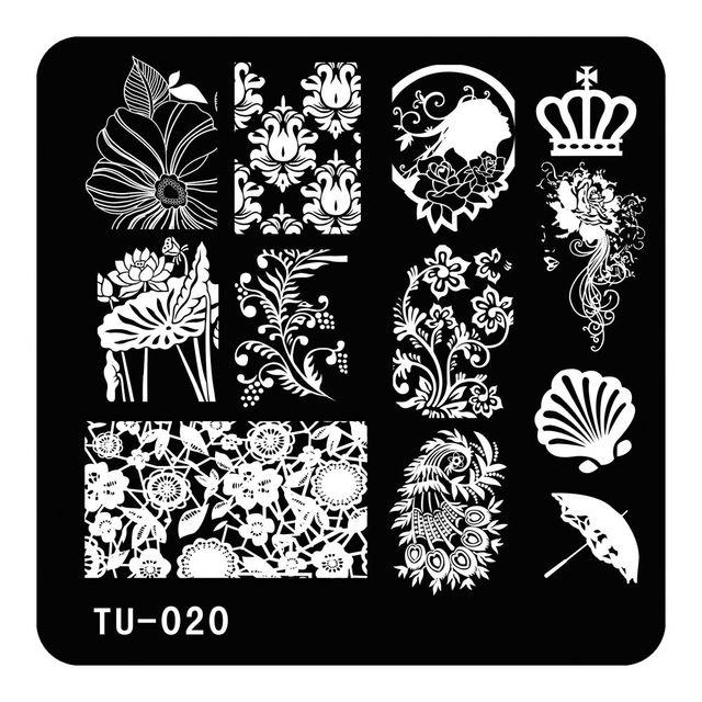 Lotus Flowers Umbrella Pattern Image Stamp Stamping Plates DIY Nail Art Template Fashion Design Manicure