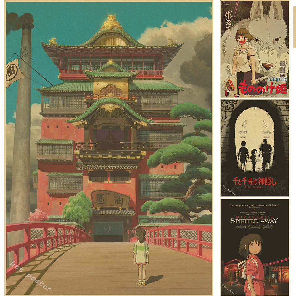 Vintage Cartoon Anime Hayao Miyazaki Totoro Spirited Away Poster Cafe Kid Home Decor Retro Kraft Paper Wall Sticker mejores fotos hechas en photoshop
