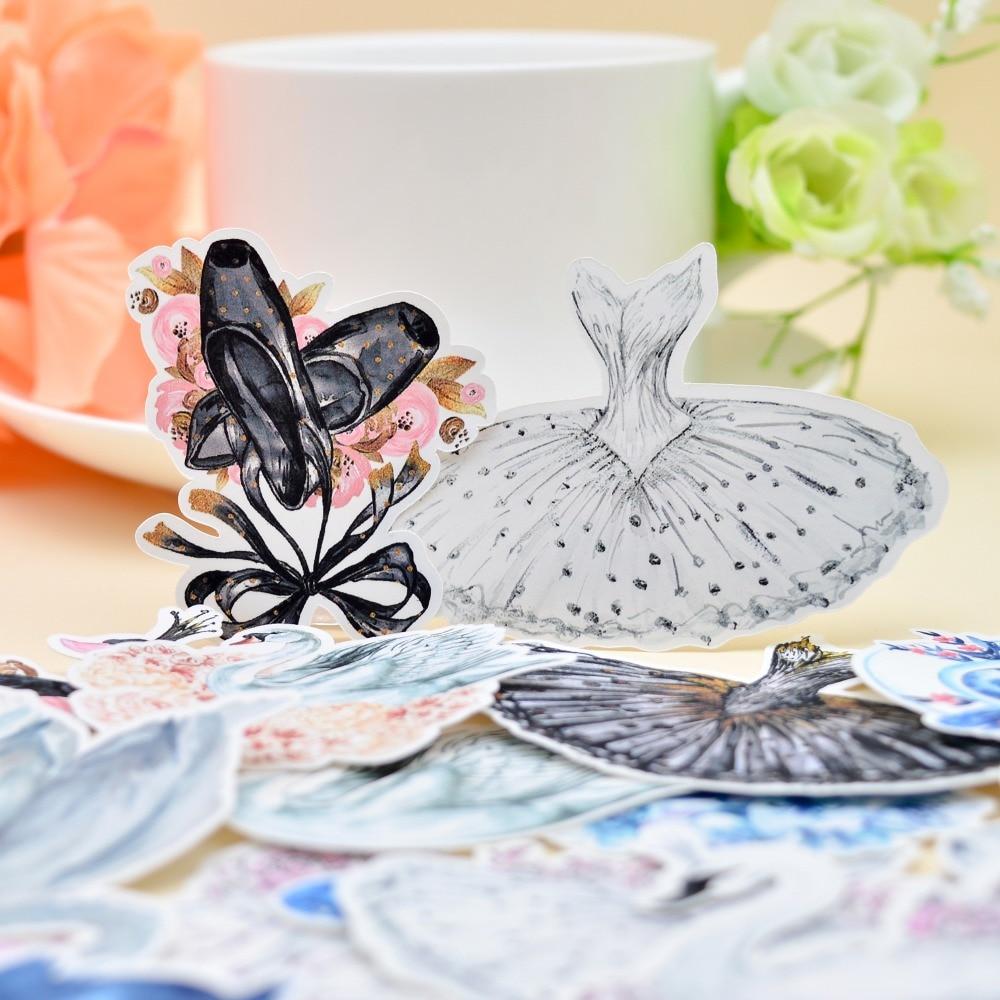 26pcs Watercolor Swan Ballet Shoes Sticker Decoration Girls Dress  Notebook/ Handbook Diary  DIY Letter Paper