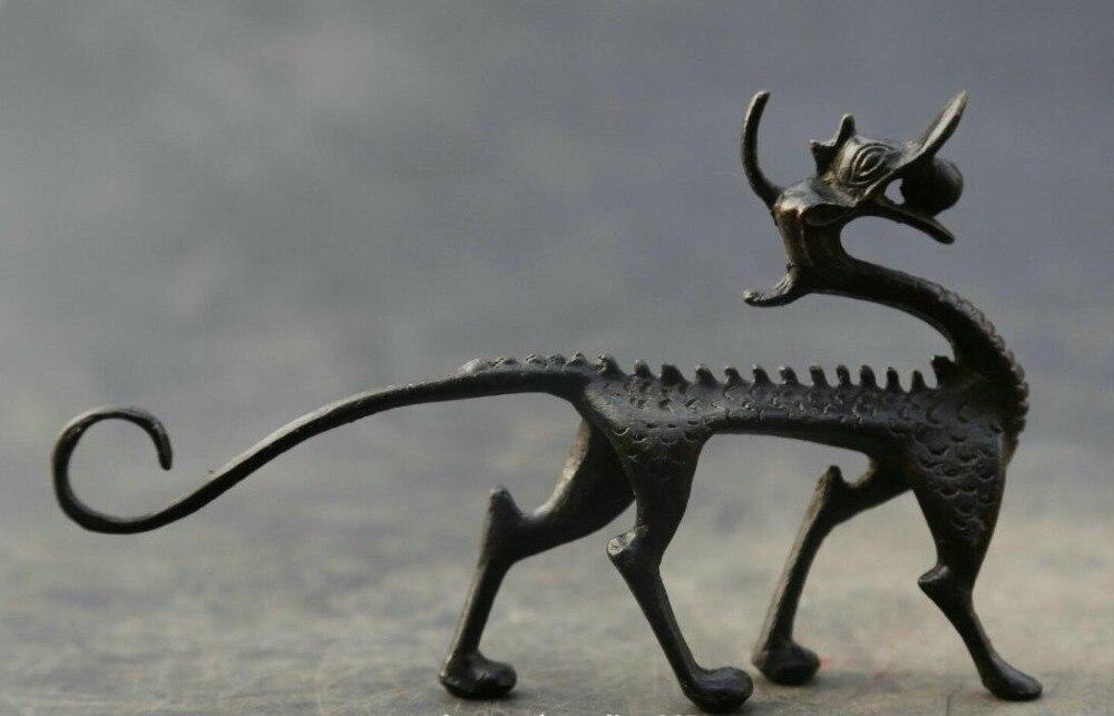 """5,9 """"Chinesische Bronze Liebenswert Tier Pixiu Pi Xiu Einhorn Tier Kylin Qilin Statue-in Statuen & Skulpturen aus Heim und Garten bei  Gruppe 1"""