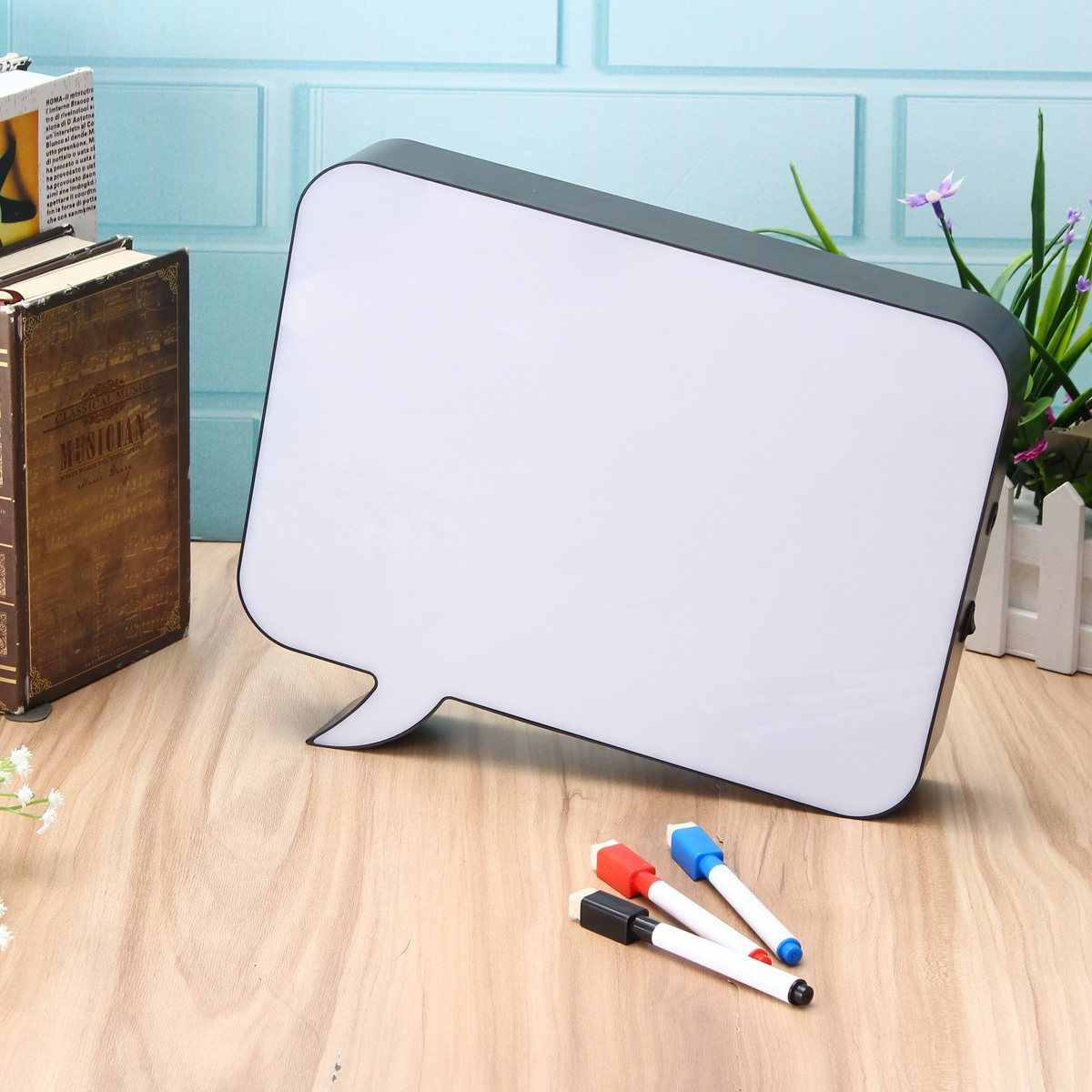 Dialog Shape A4 Rewritable DIY LED Night Light Box With Tri-Color Erasable Pen For Gift Interior Decoration Night Table Lamp