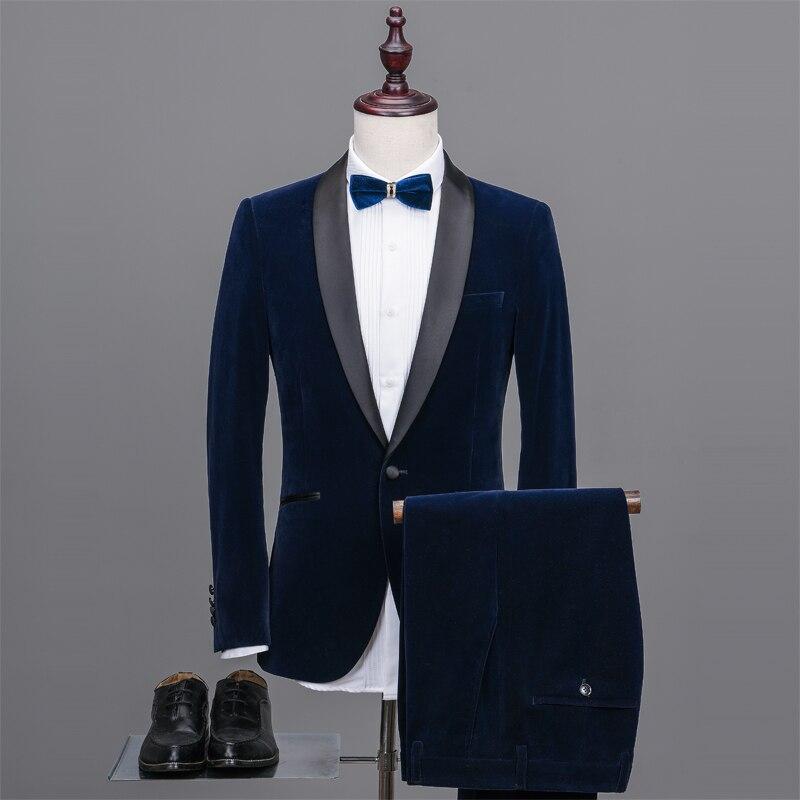 Latest Coat Pant Designs Navy Blue Velvet Suit Men Blazer ...