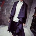 New fashion Mens Unique Black Open Cool Long Trench Coat Outwear Loose coats black plus Size