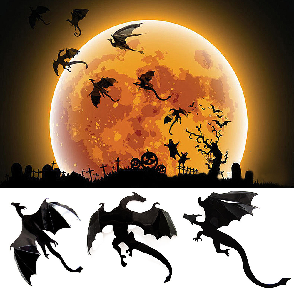 Us 072 10 Off2019 7pcs Lot Gothic Wallpaper Stickers Game Power Inspired 3d Dragon Decoration For Bedroom Living Room Wallpaper Decoration In
