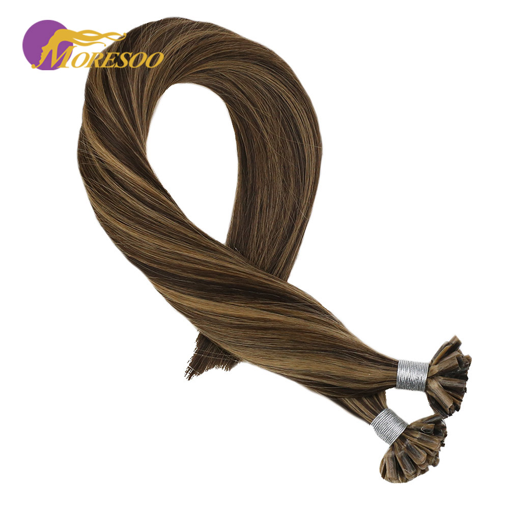 Moresoo U Tip Human Hair Extensions Highlighted Color #4 Brown Mixed With Golden Blonde #14 Remy Hair Keratin Hair 1g/1s 50G