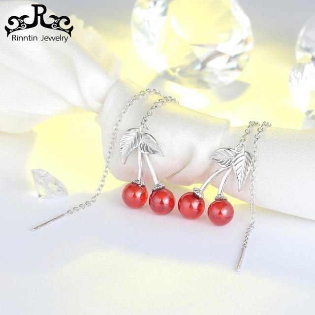 Rinntin 100% Genuine 925 Sterling Silver Drop Earrings for Women Red Garnet Cute Cherry Design Earring Party Fine Jewelry TSE100