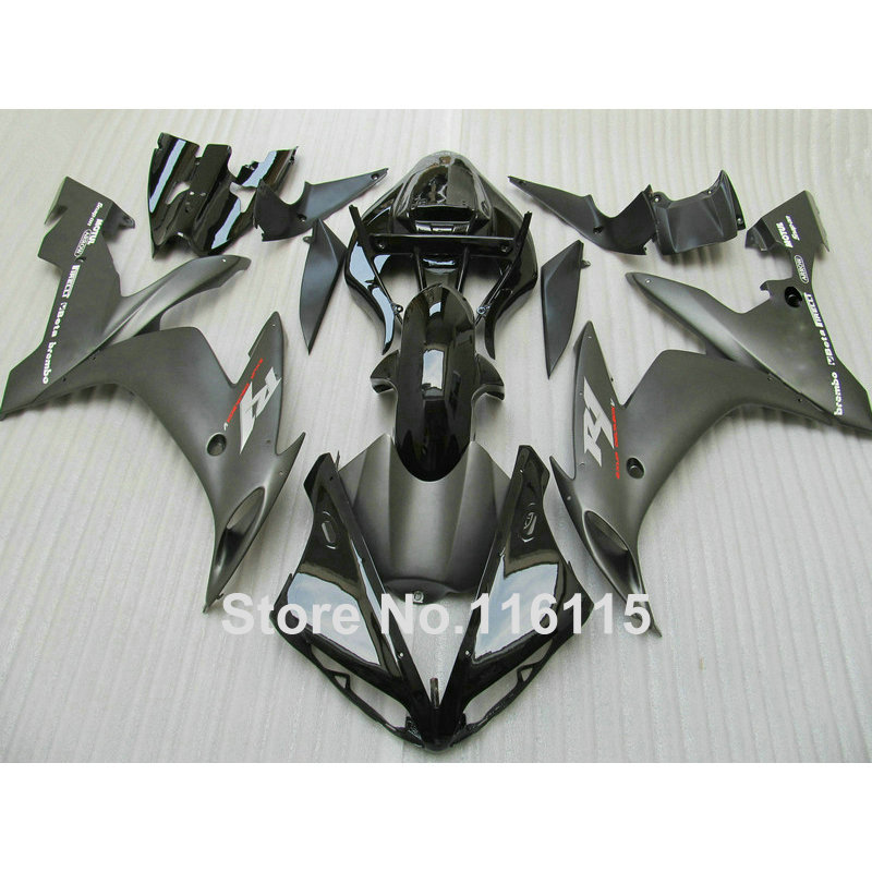 Injection molding fairings set for YAMAHA YZF R1 2004 2005 2006 all matte black ABS plastic fairing kit YZF-R1 04 05 06 CY34 injection molding motorcycle parts for yamaha yzf r1 2007 2008 fairings set yzf r1 07 08 all matte silver abs fairing kit qz54