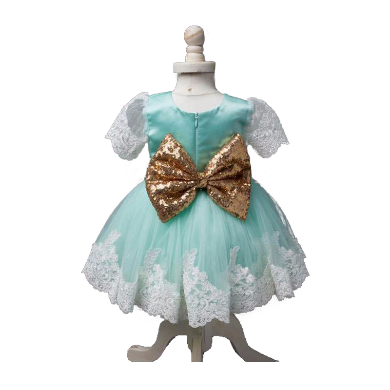 2016 Golden Bow Lace Flower Girl Dresses Baby 1 Year Birthday Party Dress Toddler Girl Pageant Dress Ball Gowns