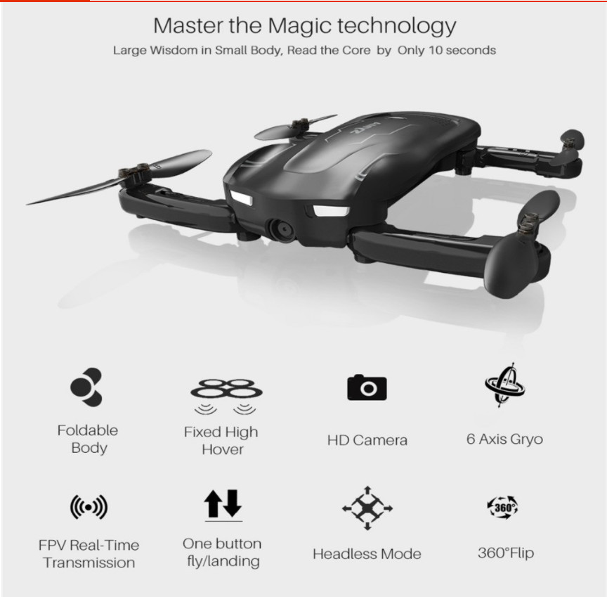 Mini RC Drone with WiFi Camera Altitude Hold Selfie Drone Follow me Mode FPV Quadcopter Helicopter follow me down