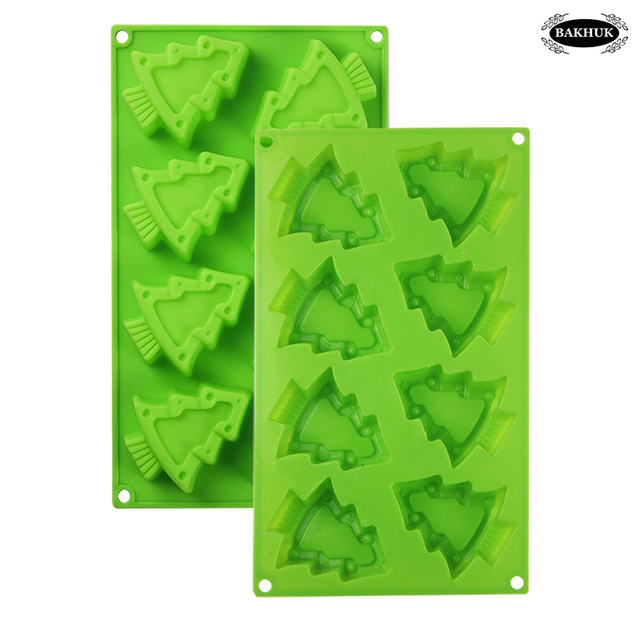 bakhuk 8 cavity christmas silicone mold christmas tree mold cake muffin chocolate decorations