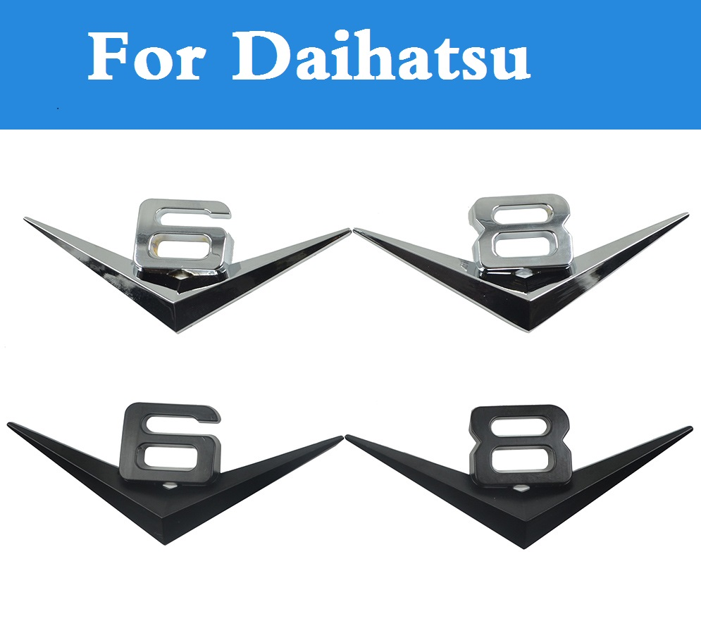 v6v8 chrome letters digitals emblem refitting car styling for daihatsu max mira mira gino sirion sonica terios trevis