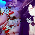 New Luxury Fan-shaped Full Micro Pave AAA Top CZ Diamond Crystals Dangle Earrings APM MONACO Brand Jewelry for Women