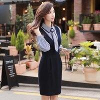 original 2017 brand winter new fashion deep v neck high waist elegant woolen slim waist office vest dress women wholesale