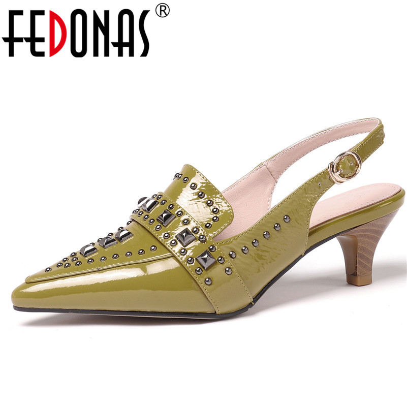 FEDONAS 2019 New Women Sandals High Heels Punk Rivets Party Wedding Shoes Woman Genuine Leather Pointed Toe Slingbacks Pumps FEDONAS 2019 New Women Sandals High Heels Punk Rivets Party Wedding Shoes Woman Genuine Leather Pointed Toe Slingbacks Pumps