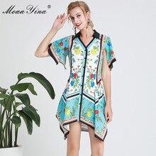 MoaaYina Fashion Designer Runway dress Spring Summer Women Dress V-neck Floral-Print Asymmetrical Dresses
