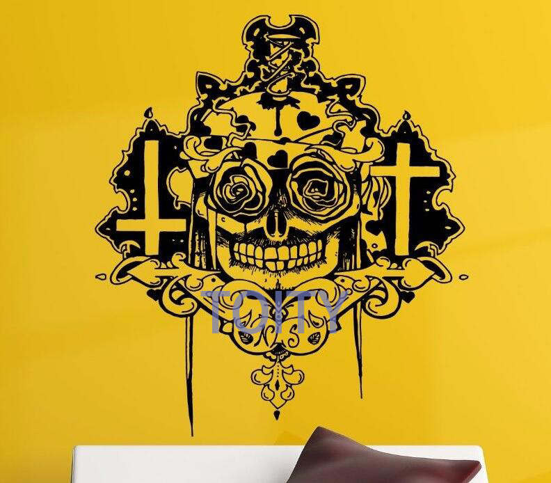Sugar Skull Skeleton Wall Decal Dead Day Mexico Style Vinyl Decal ...