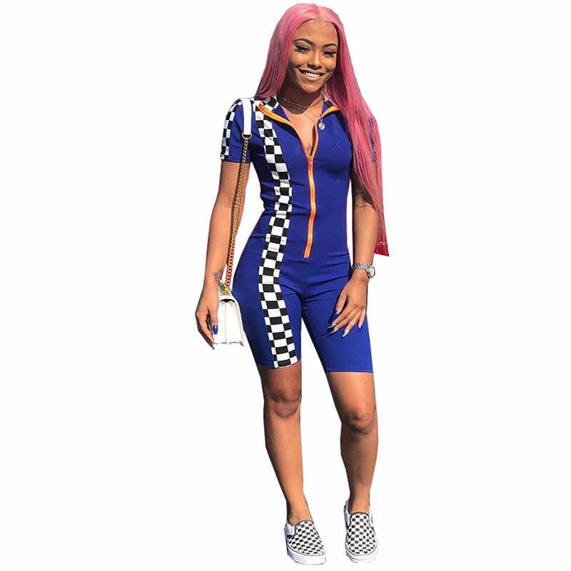 2ce8286697be ... ANJAMANOR Sexy Summer Rompers Women Bodycon Jumpsuit Shorts Overalls  Checkerboard Zipper Playsuit Club One Piece Outfit ...