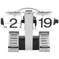 Genérico Tanque Elegante Relógio Digital Flip Fresco Mesa Alarme Mesa Virar Relógio Presente Criativo