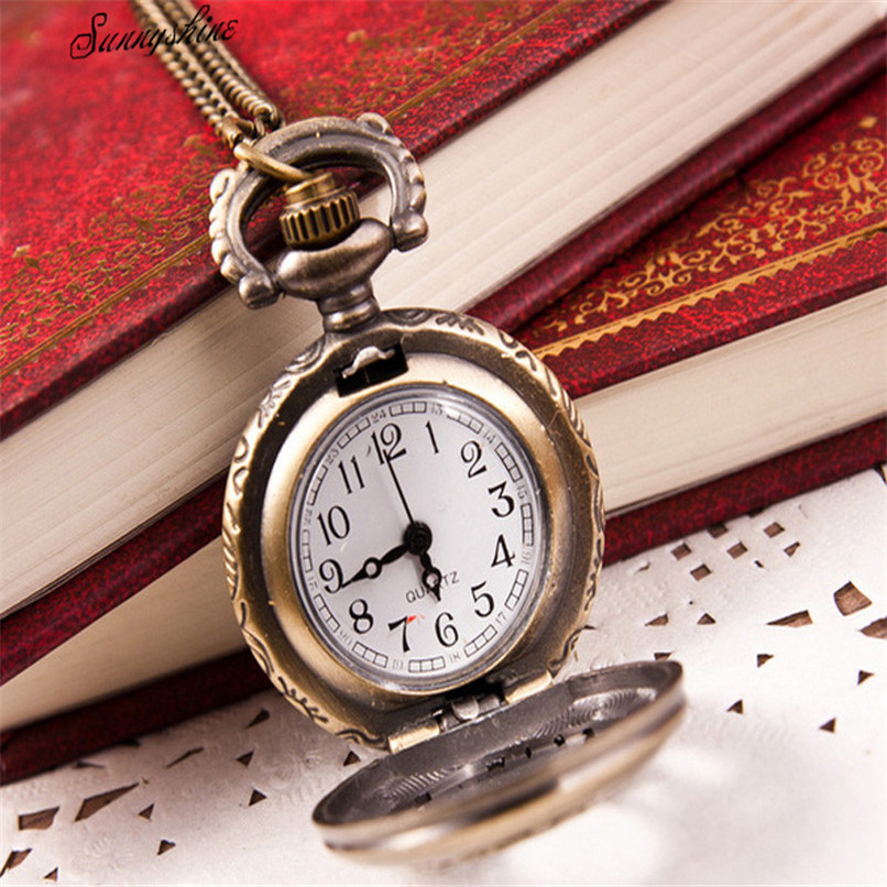 Hot Fashion Women Men Watches Vintage Retro Bronze Quartz  Unisex Clock Pocket Watch Pendant Chain Necklace wholesale durable fashion pocket watch chain quartz watch vintage retro bronze quartz pocket watches