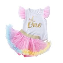 5cc3ac8cd6ddd 2 pièces bébé vêtements ensemble filles sans manches barboteuse Tutu jupe costume  nouveau-né volants pantalon combinaison infant.