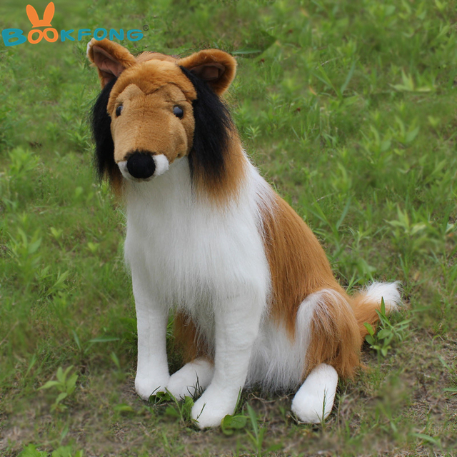 BOOKFONG 55CM Simulation Rough Collie Plush Toy Puppy Dog