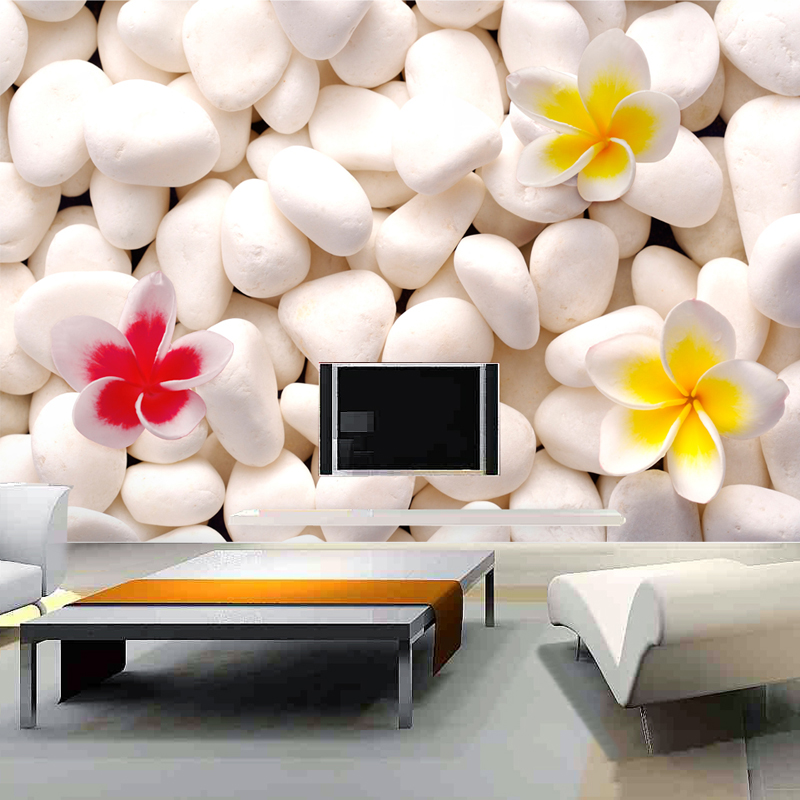 5D White Cobblestone Flower Paper Murals 3d Stone Wall Mural Wallpaper For Sofa Tv Background 3d Wall Photo Murals Wall Paper