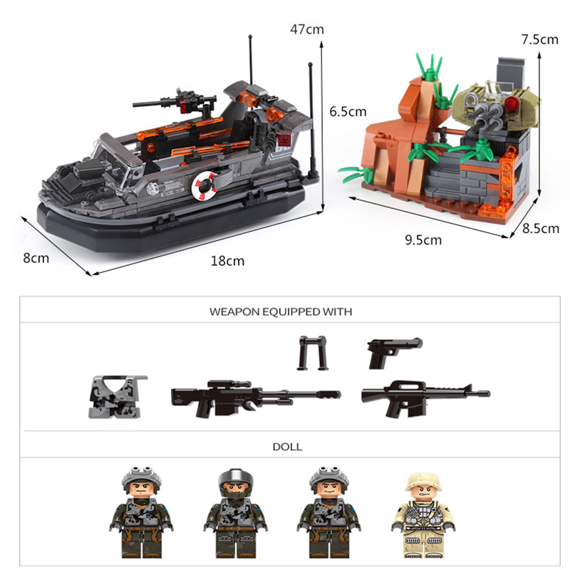 XINGBAO 06017 Genuine 497Pcs Military Series The Assault Boat Set Building Blocks Bricks Educational Toys As Model Gift For Kids in Blocks from Toys Hobbies