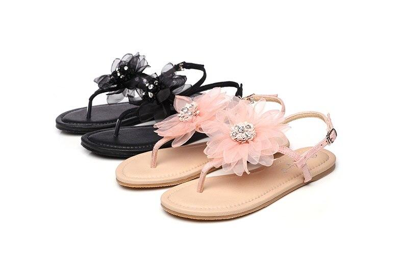 Playa Las Pie La Dedo Flores Nueva 2019 Del Mujeres Rosa Zapatos Clip Negro rosado Mujer Sandalias De Negro Señoras Kyz6Iq6H