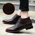 Зима Теплая Мужская Обувь Моды Кожа Сапоги Высокие Верхние Меховые сапоги Бизнес Обувь Итальянский Платье Заостренные Botas Новый Офис Обувь красный