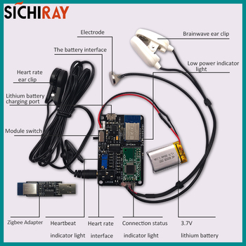 Brainwave EEG sensor TGAM Technology heart rate monitor module Zigbee wireless communication EEG/ECG acquisition board