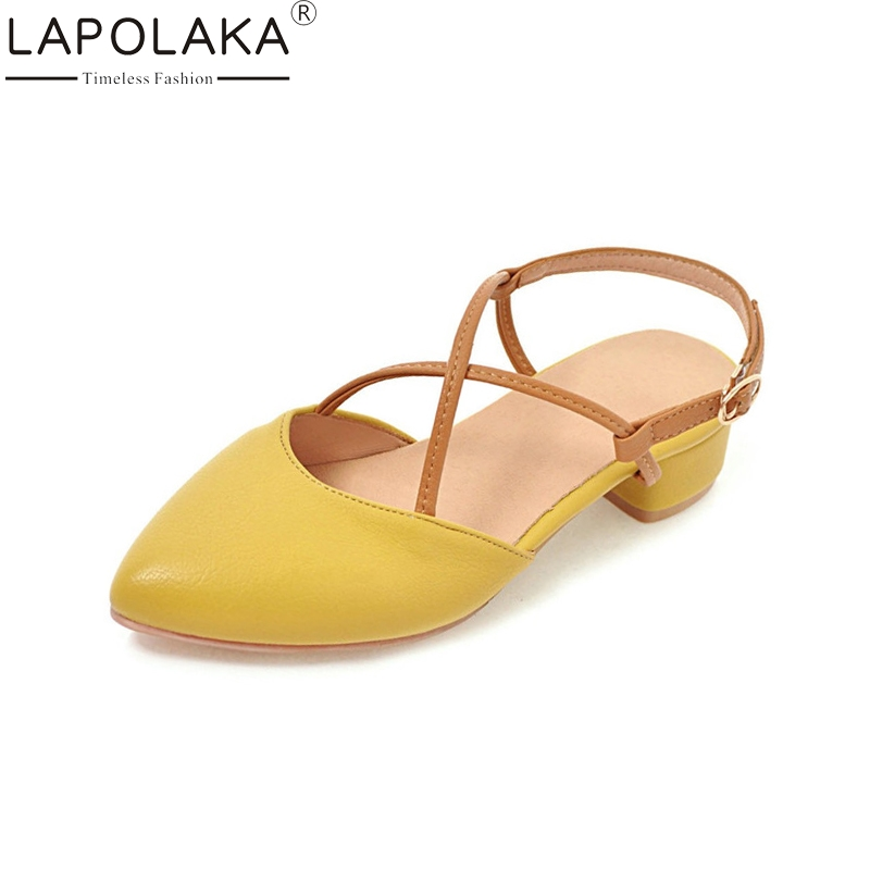 LAPOLAKA New women's Buckle Strap Square Low Heels Pointed Toe Solid Shoes Woman Casual Party Summer Sandals Big Size 33-43 lapolaka new women s genuine leather square med heels ankle strap solid shoes woman casual summer sandals big size 33 40