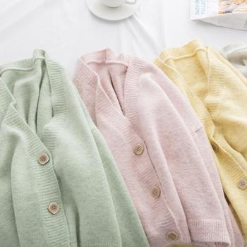 Autumn Sweater Cardigan Women Korean Solid Long Sleeve Single Breasted Knit Cardigan Casual Pocket Ladies V-Neck Sweater Outwear