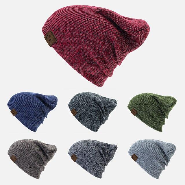 Hat Winter Women s CC Beanie Unisex Warm Messy Bun Beanie Soft Knitted Hat  Female Cool Bonnet Hip Hop Cap Warm Skullies Gorros 8e91b7c2c86a