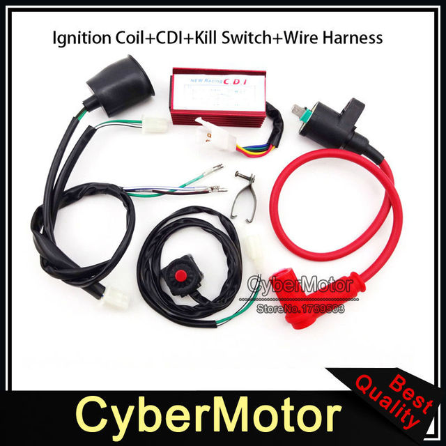 racing ignition coil ac cdi wiring loom harness kill switch for 50 70cc  90cc 110cc 125cc 140cc 150cc 160cc engine pit dirt bike