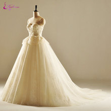Waulizane Silky Tulle Wedding Dresses Sleeveless Ball Gown